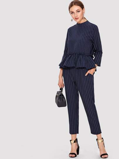 Pinstripe Ruffle Hem Top And Pants