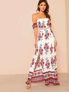 Flower Print Bardot Maxi Dress with Slit RED