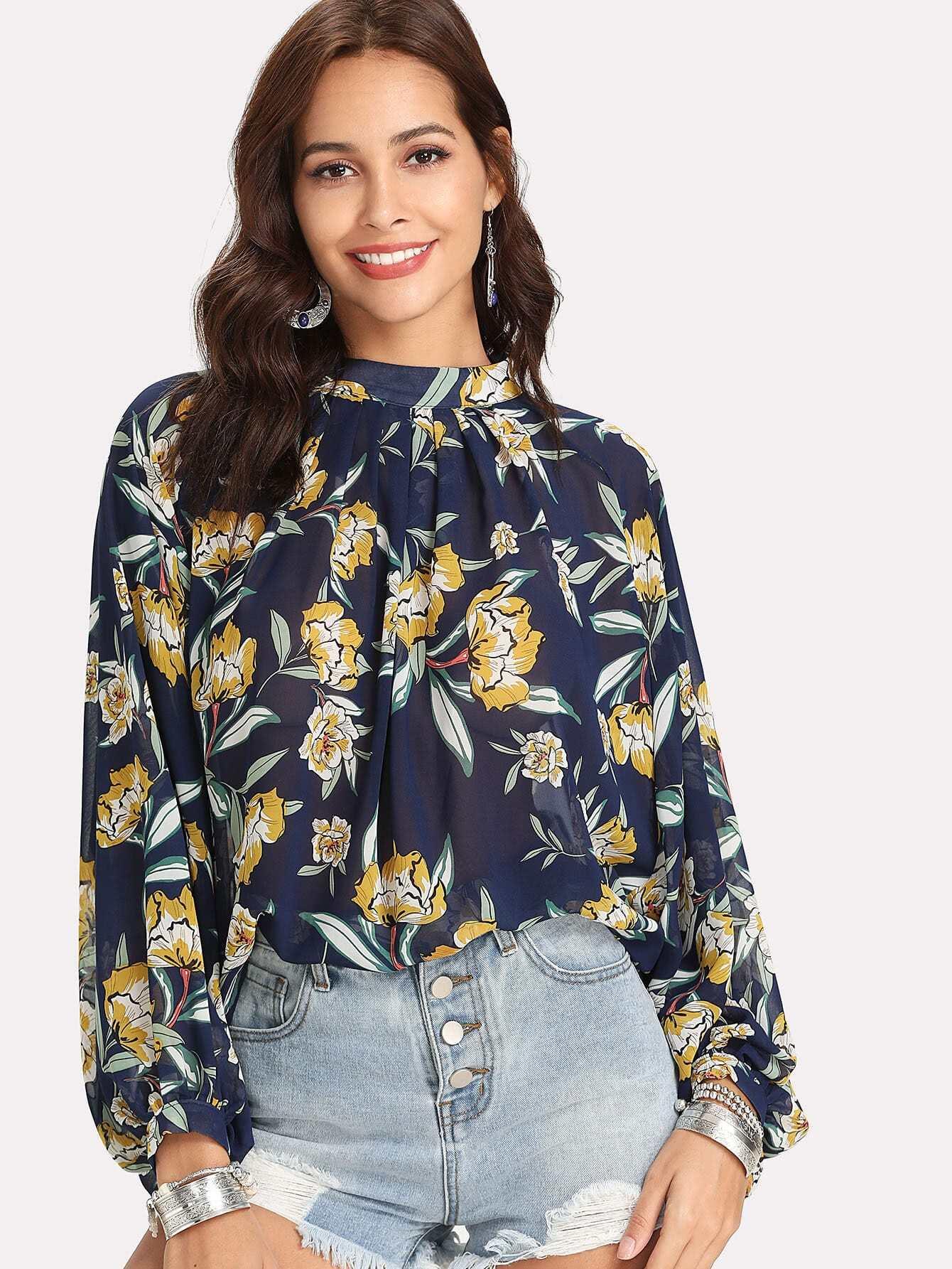 V Cut Back Floral Print Blouse cut out back daisy print blouse