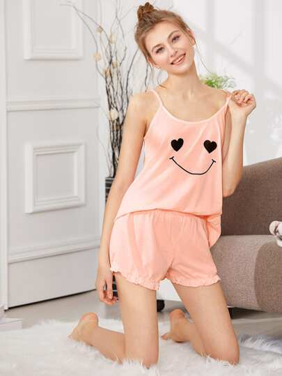 Smile Print Cami & Shorts PJ Set