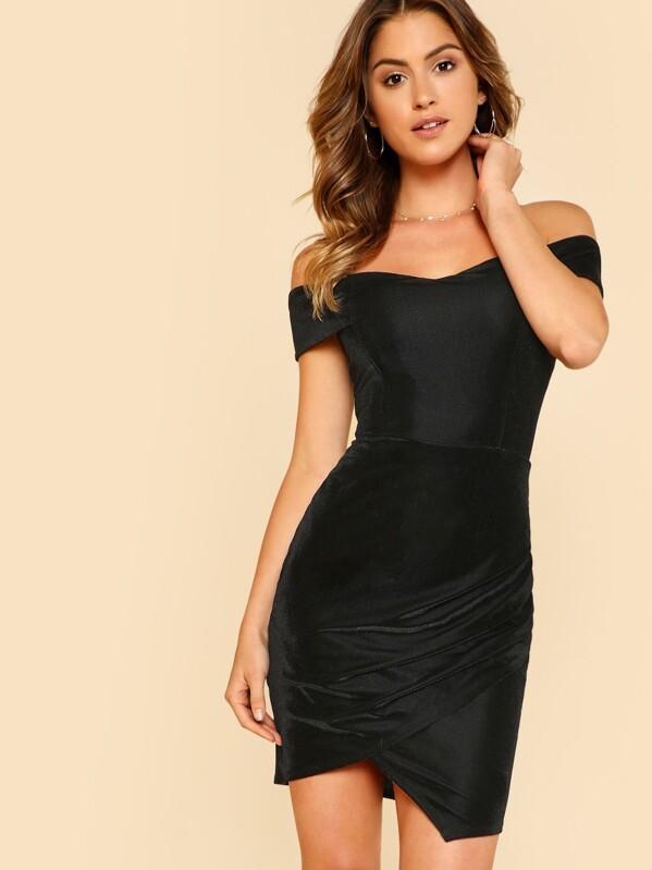 Off The Shoulder Ruched Wrap Dress, Gigi Paris