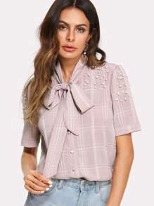 Faux Pearl Beading Tie Neck Plaid Shirt