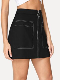 Contrast Stitch Zip Up Skirt