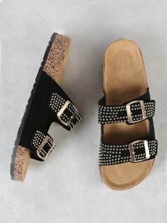 Studded Double Buckle Strap Cork Footbed Slide Sandal BLACK