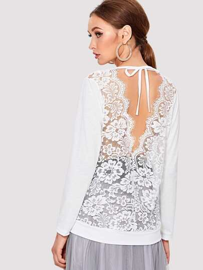 Eyelash Lace Trim See Through Back Top