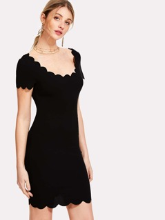 Slim Fitted Scalloped Trim Dress