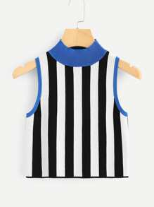 Contrast Trim Vertical Striped Shell Top