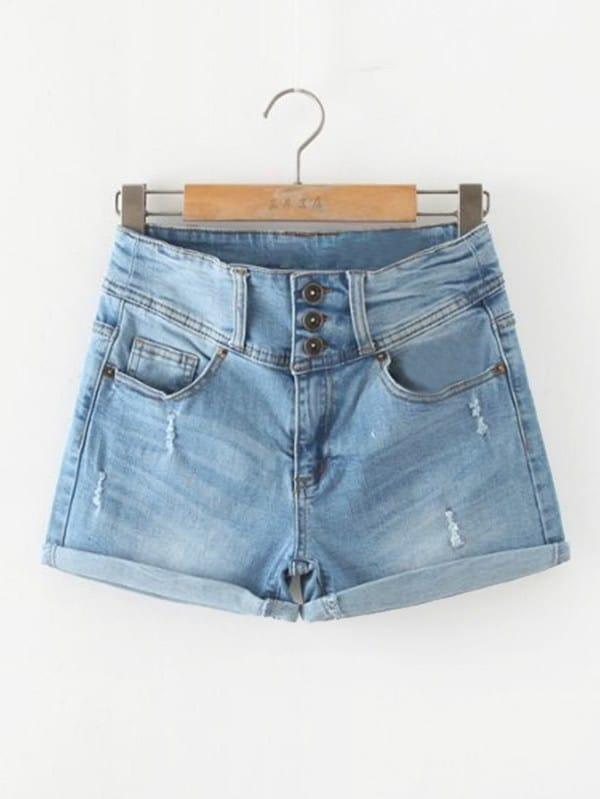 Cuffed Denim Shorts frill trim cuffed denim shorts