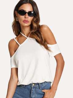 Strappy Cold Shoulder T-shirt