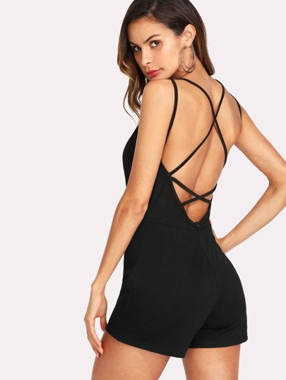 Criss Cross Open Back Romper