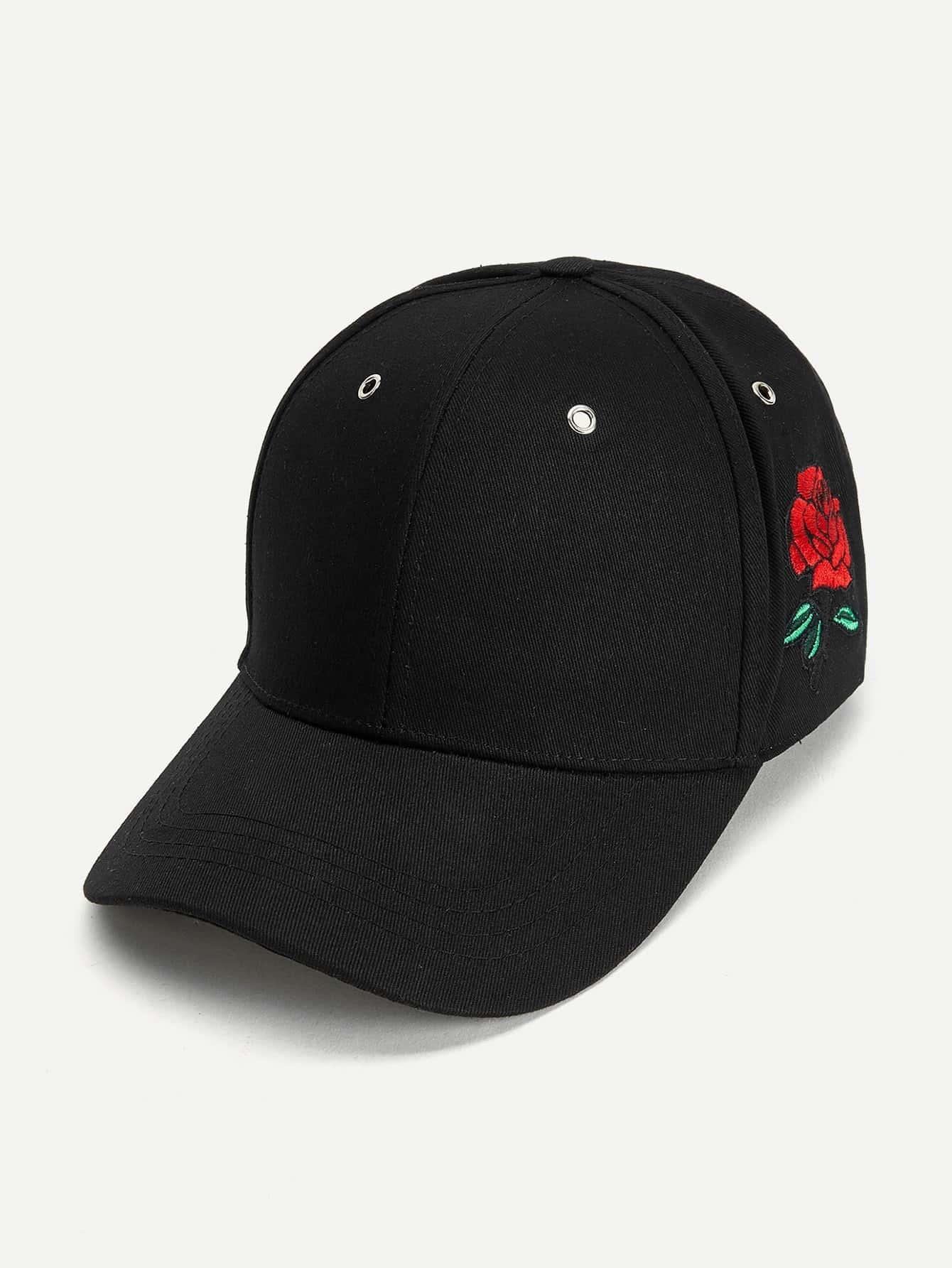 Rose Detail Baseball Cap