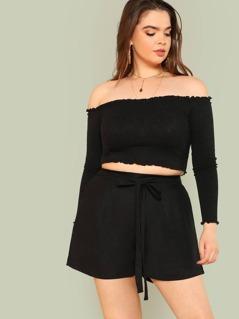 Plus Tie Waist Shorts BLACK