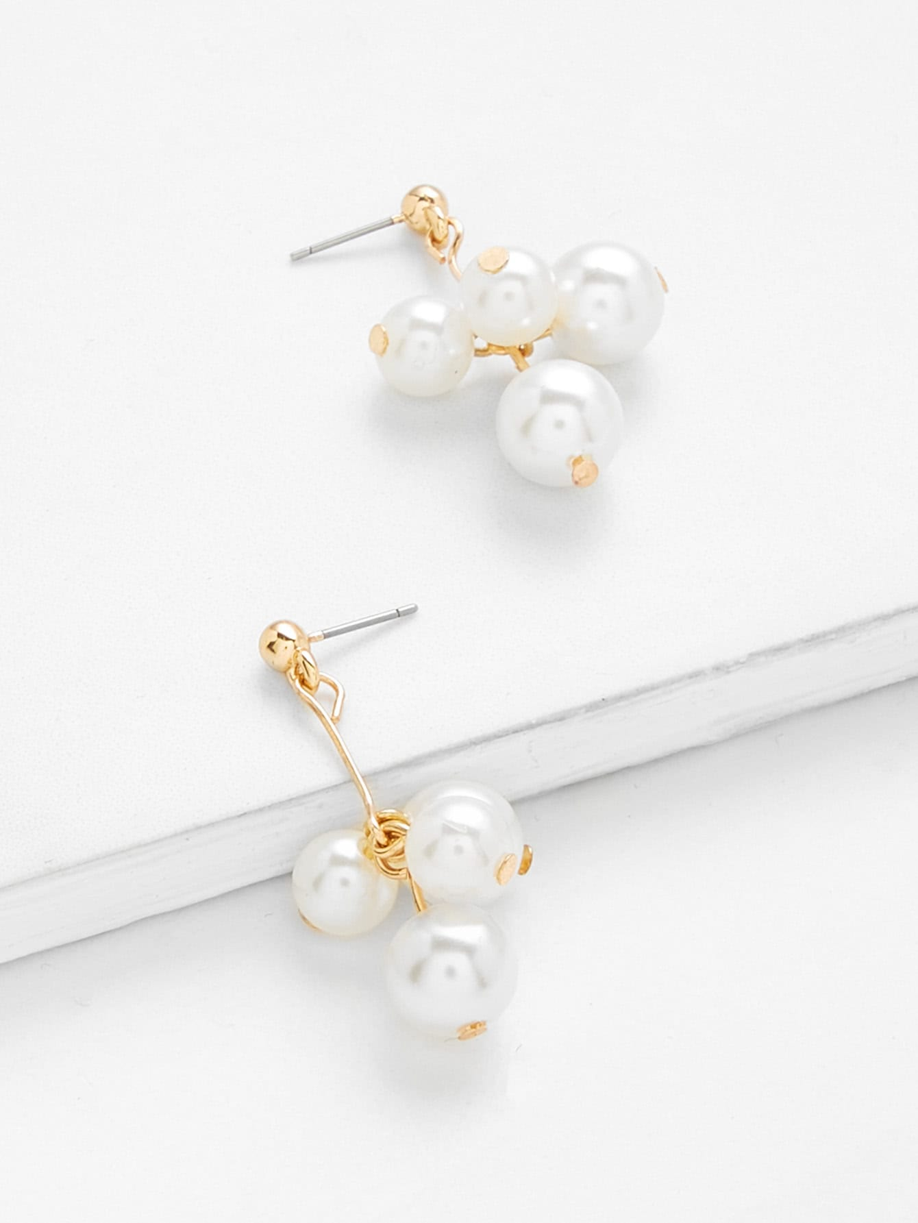 Faux Pearl Decorated Drop Earrings faux pearl ball drop earrings