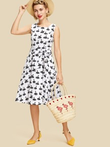 All Over Swans Print Swing Dress