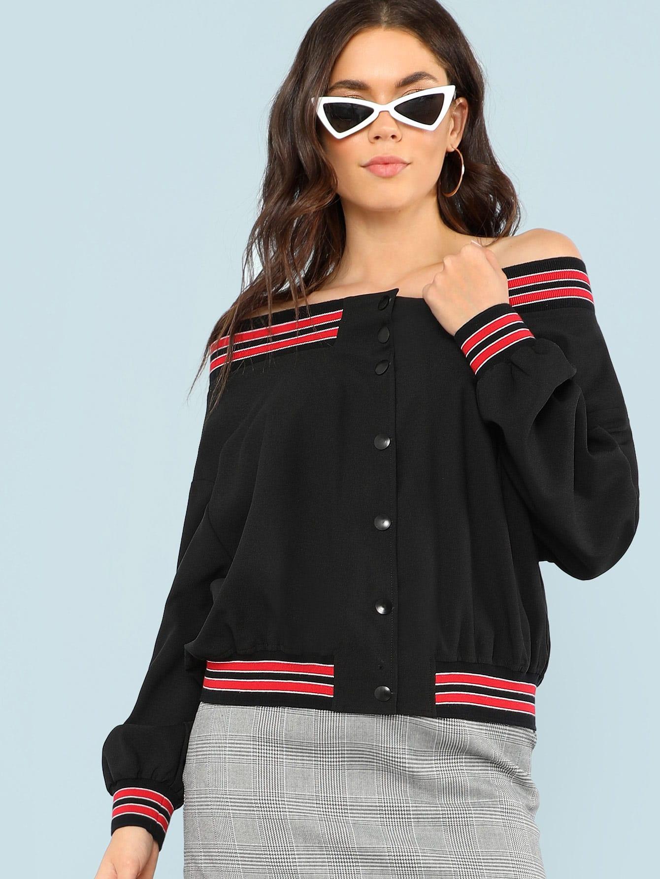 Striped Trim Button Up Off Shoulder Jacket striped trim zipper up bomber jacket