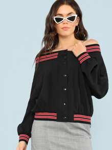 Striped Trim Button Up Off Shoulder Jacket