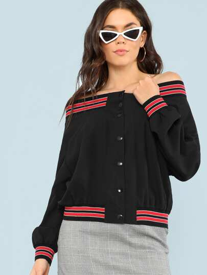 Striped Trim Button Up Off Shoulder Jacket