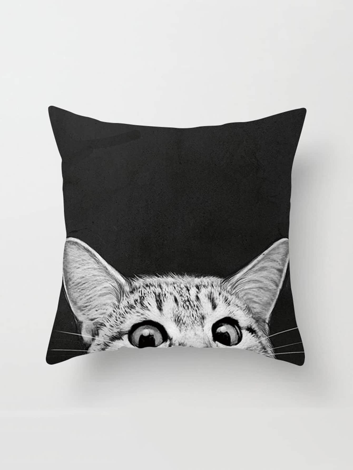Cat Print Linen Pillowcase Cover panda print linen pillowcase cover