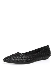 Woven Design Pointed Toe Flats