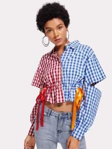 Check Plaid Two Tone Drawstring Waist Shirt
