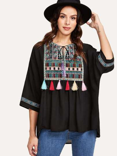 Geo Embroidery Tassel Detail Blouse