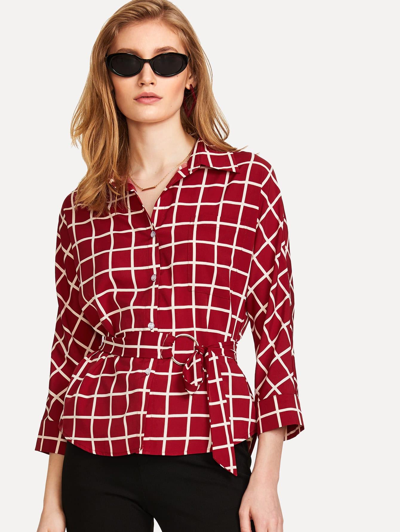 O-Ring Belted Grid Shirt pu belted tartan shirt