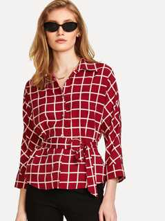 O-Ring Belted Grid Shirt