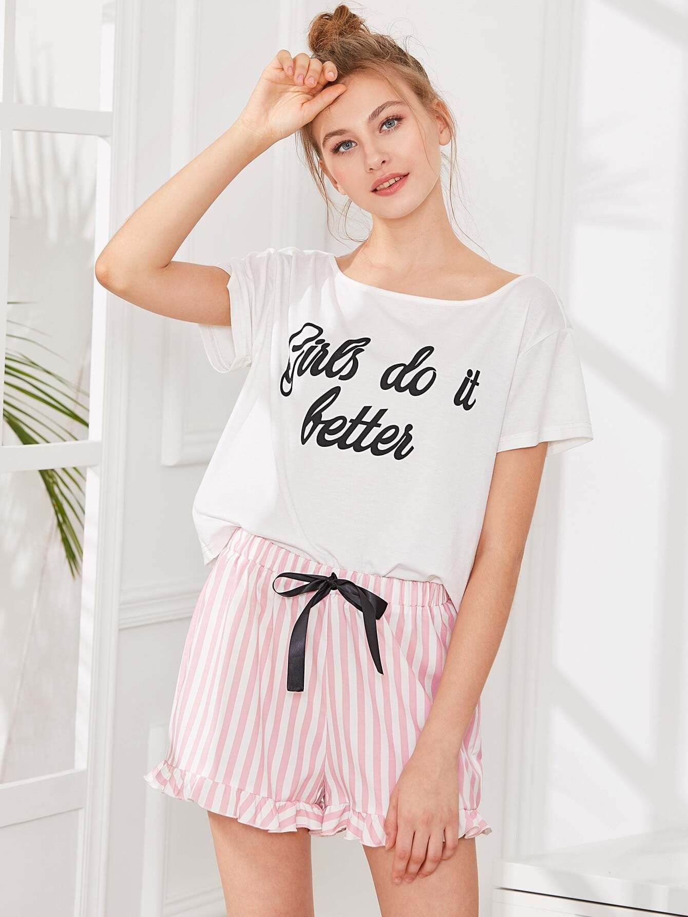 Letter Print Top & Striped Shorts Pajama Set letter print cami and ruffle shorts pajama set