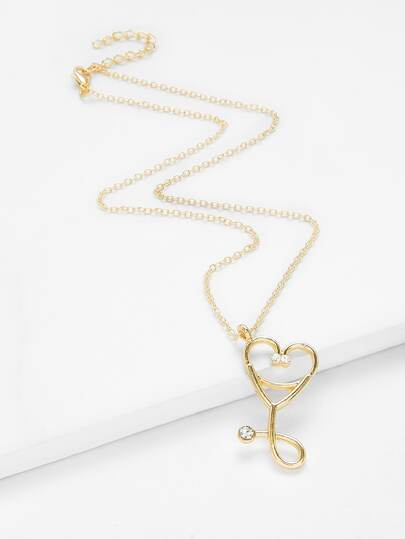 Heart Pendant Chain Necklace With Rhinestone