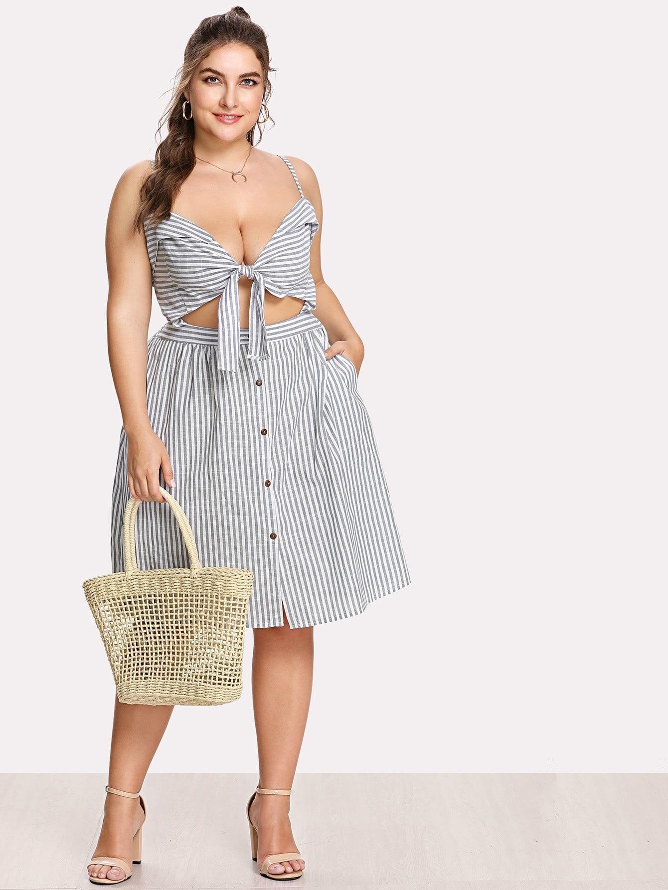 Plus Bow Tie Front Stripe Slip Dress