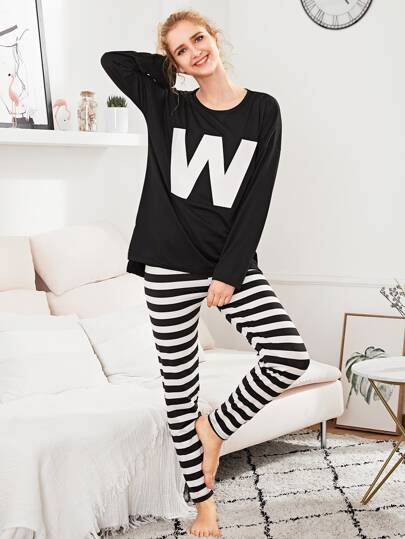 Letter Print Tee & Striped Pants PJ Set