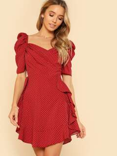 Puff Sleeve Ruffle Trim Dress