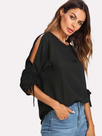 Shirred Drawstring Split Sleeve Top