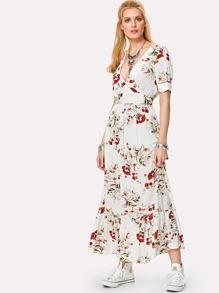 Double V Neck Ruffle Hem Botanical Dress
