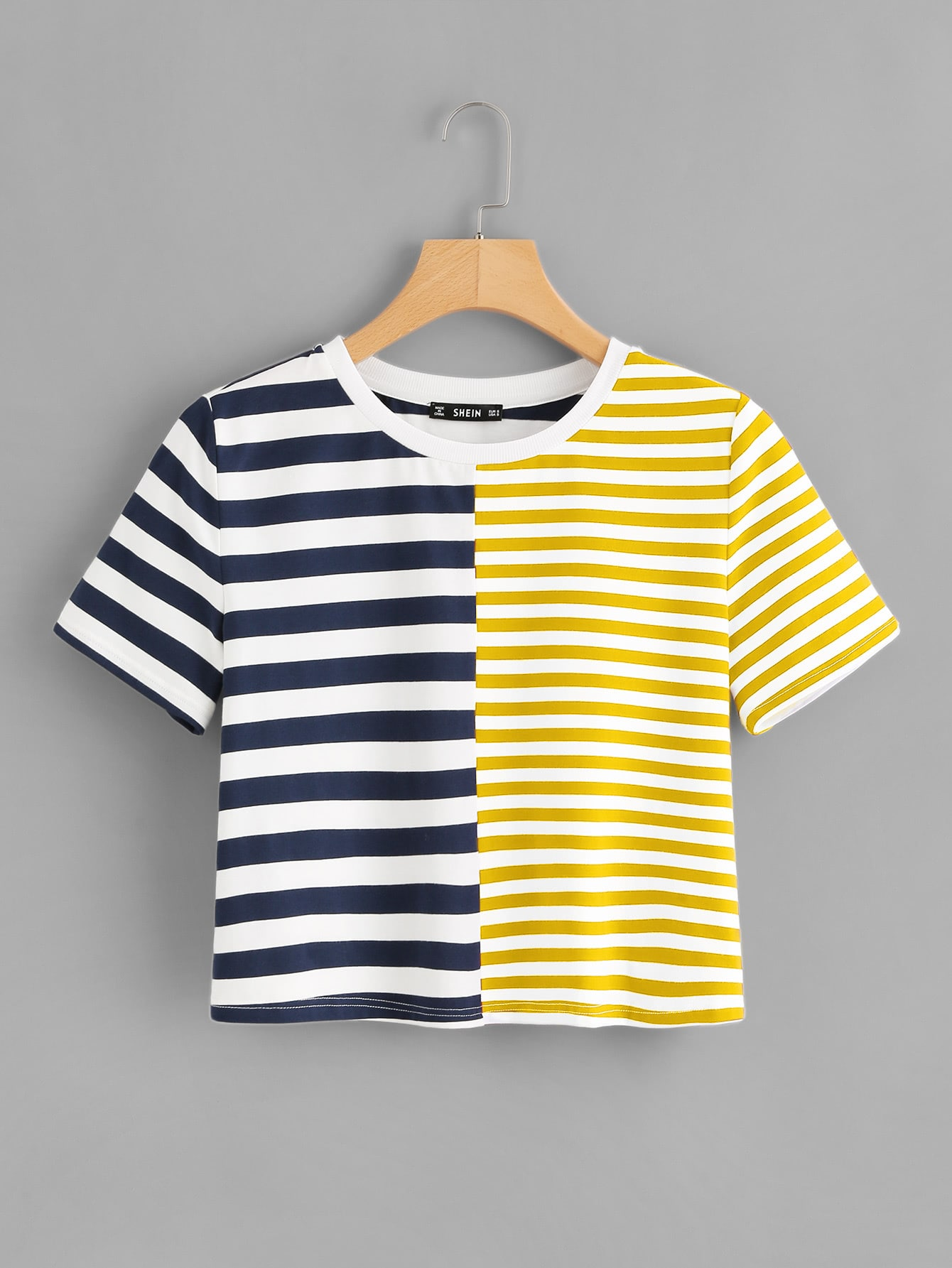 Two Tone Striped Tee two tone drop shoulder tee