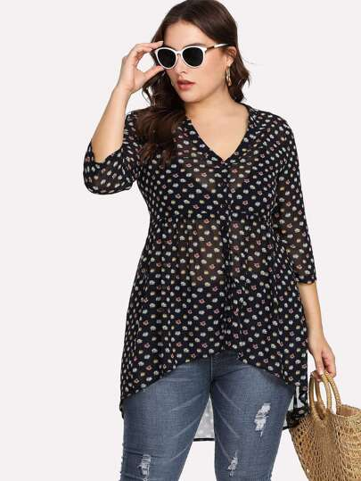 High Low Button Up Calico Blouse