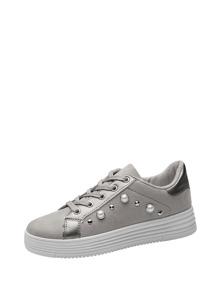 Faux Pearl Decor Flatform Sneakers