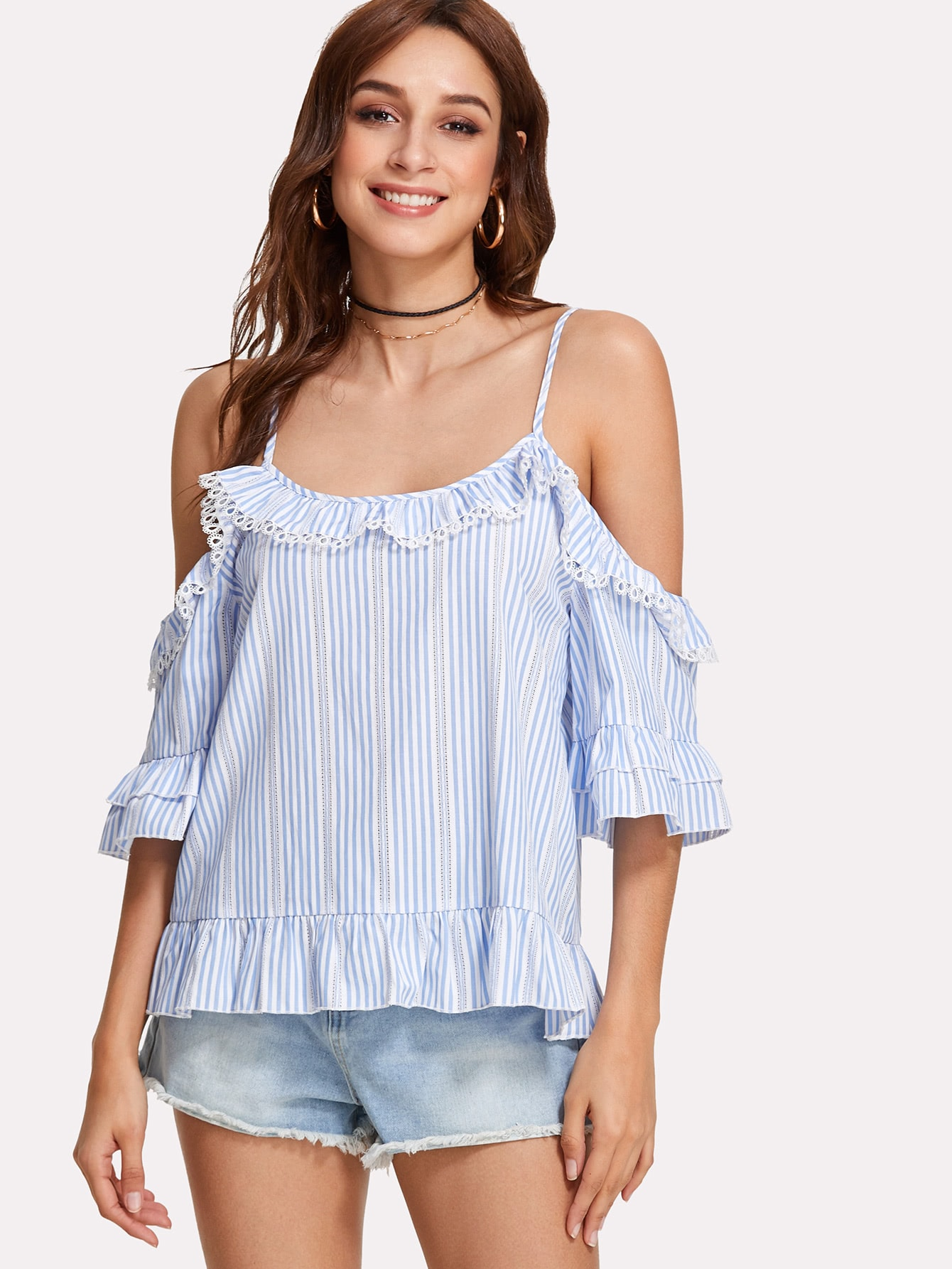 Lace Insert Cold Shoulder Ruffle Top box pleated ruffle cold shoulder top