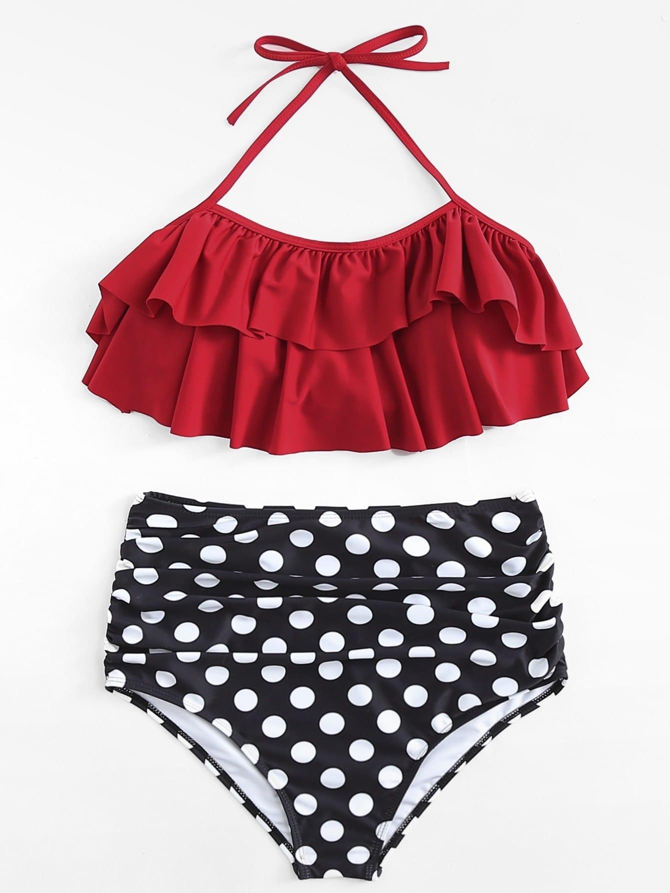 Polka Dot Ruffle Bikini Set polka dot bikini set
