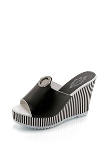 Striped Detail Wedge Sandals