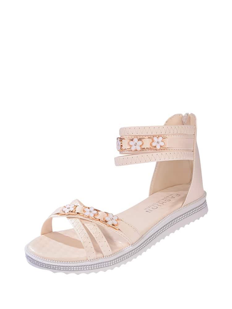 Floral Decor Strappy Sandals