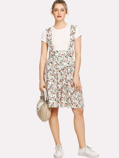 Floral Print Pleated Pinafore Skirt