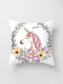 Animal & Flower Print Pillow Cover