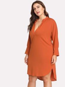 V Cut Neck High Low Tunic Dress