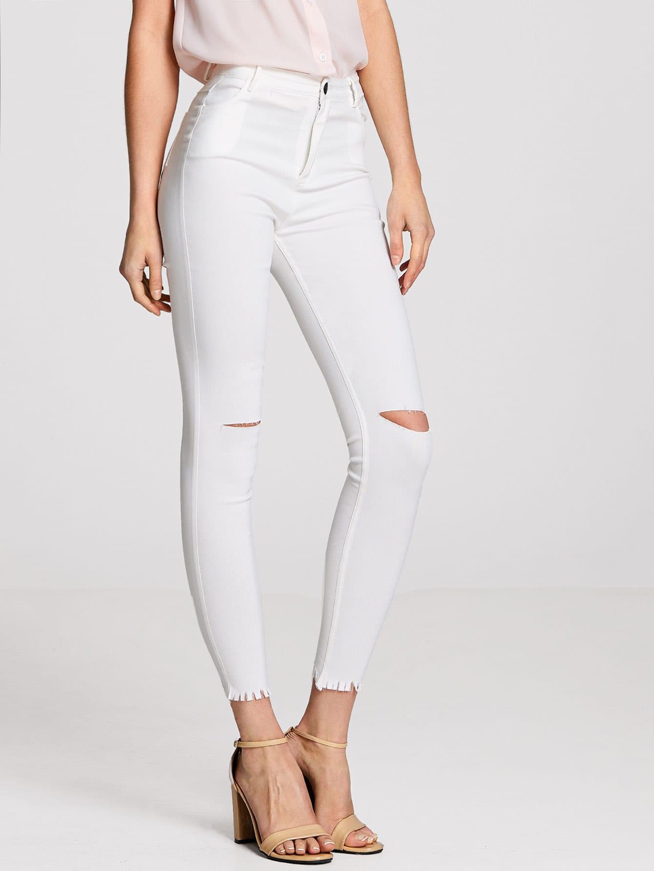 Колено обрезанные джинсы