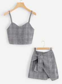 Checked Cami Top With Asymmetrical Hem Skirt