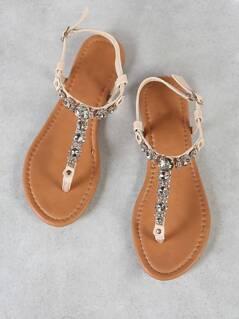 Rhinestone Embellished Thong Sandal with Ankle Strap BEIGE