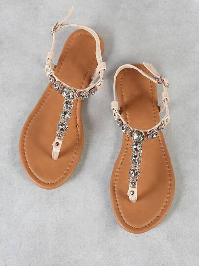 Rhinestone Embellished Thong Sandal with Ankle Strap BEIGE