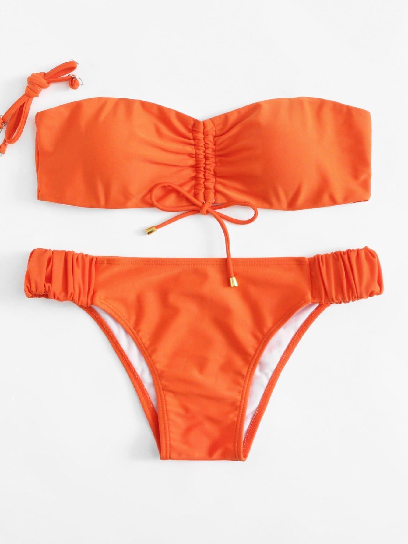 Bandeau Bikini Set With Detachable Strap