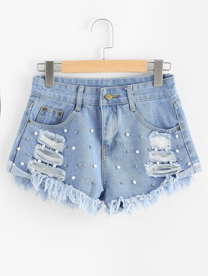 Faux Pearl Beading Raw Hem Ripped Denim Shorts